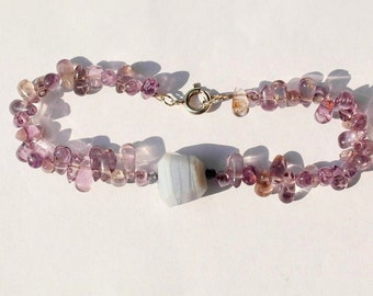 Gemstone bracelet with sterling silver clasp, chalcedony, amethyst and Iolite