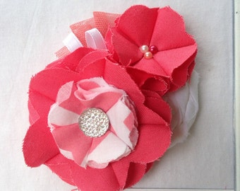 Coral & White Fabric Flower Headband