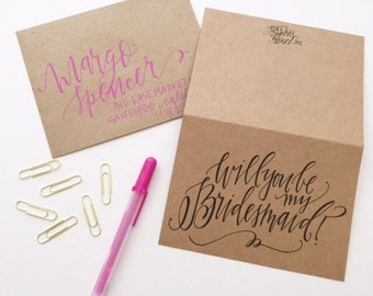 Will You Be My Bridesmaid Card - kraft paper or white with pink lettering