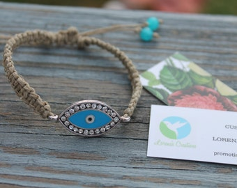 Evil Eye Hemp Bracelet with Adjustable Clasp