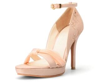 Custom Made Satin Ankle Strap Wedding Heels, Nude Ankle Strap Heels, Nude Bridal Heels, Floral Nude Satin Heels