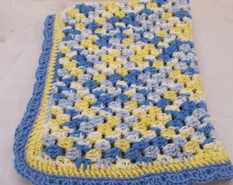 Blue,White and Yellow stroller, baby seat or baby carrier cover, crochet