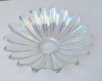 SALE - Vintage Pearlescent Carnival Flower Shape Serving Dish