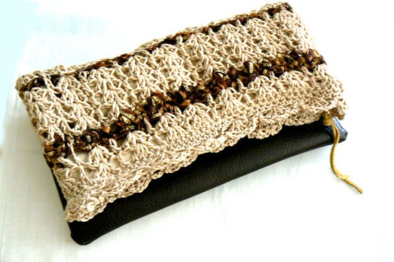 Natural foldover crochet clutch- Women boho crochet bag- Beige faux leather evening clutch- Crochet handbag- Eco leather crochet bag