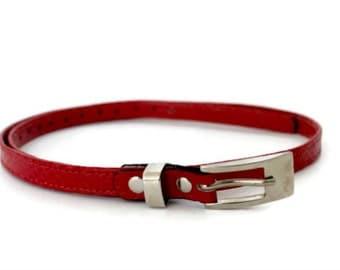 Red leather belt women , Women's leather belt , Skinny leather belt