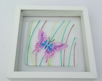 Butterfly Picture, Fused Glass Butterfly, Pink Butterfly Picture, Butterfly Art, New Home Housewarming Gift, Gift for Her
