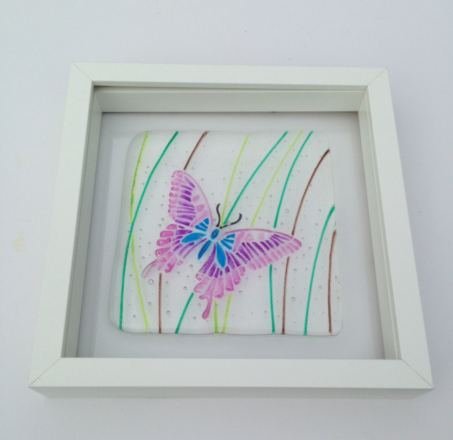Fused Glass Wall Art: Butterfly Fused Glass Wall Art Present For Her Stunning Gift