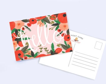 Hello Postcard Set of 8 | Hand Lettered | Hand Drawn | Hand Illustrated | Just Because | Gift Idea | Snail Mail