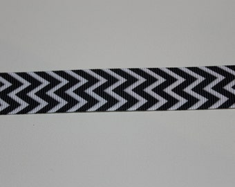 "7/8"" Grosgrain Black Chevron Ribbon"