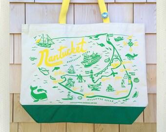 Nantucket Beach Tote • Yellow & Green