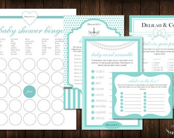 Tiffany Baby Shower Game Pack / Bingo / Word Search / What's in Your Purse / Scramble / Spanish / Bilingual