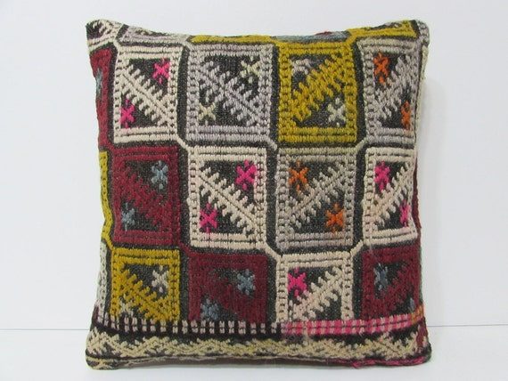 Primitive Throw Pillows For Couch : kilim rug case 18x18 primitive throw pillow by DECOLICKILIMPILLOWS