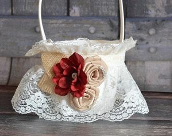 Burlap and Red Flower Girl Basket