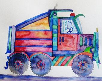 Dump truck watercolor painting, Original watercolor painting, dump truck, boy room art, nursery decor