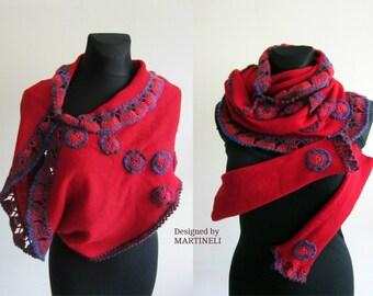 Red Bolero Jacket, Shawl Shrug Women, Crochet Top Women, Knit Wool Shawl, Crochet Shawl Wrap