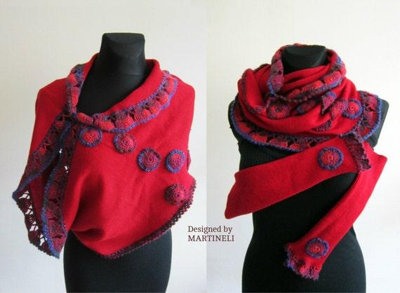 Red Bolero Jacket Shawl Shrug Women Crochet Top Women Knit
