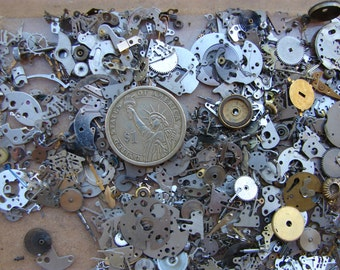 Vintage steampunk watch parts 2 oz (56 gr) / Altered Art Industrial Mixed Media Assemblage / Glitter Watch Gears parts / tiny Watch parts E