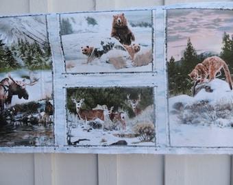 Wildlife panel with moose, bear, mule deer, & cougar