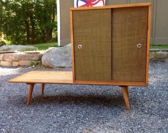 Sold*** Vintage Paul mccobb planner group 2 piece set bench slider cabinet - mid century modern