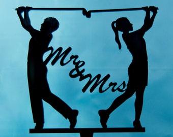 Golfing wedding cake topper -  Mr. and Mrs. Golfers silhouette cake topper - silhouettes wedding cake topper - Golfing cake topper