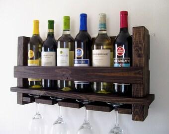 Rustic Wine Rack Wine Glasses Wine Bottles Wood Wine Rack Dark Walnut Brown