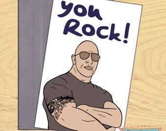 The Rock Dwayne Johnson, You Rock blank funny birthday card