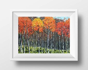 Tree Landscape Print, Birch Trees, 8x10, 11x14, 12x16, Giclee, Large, Signed, Fall colors, Impasto Textured Forest, Seasons, Autumn, Winter