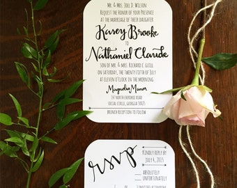 Hand lettered Invitations and RSVP suite-Digital