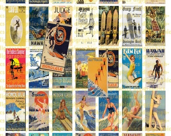 Vintage Surfing Posters 1X2 Domino Sized print out digital sheet.