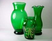 RESERVED -- Vintage Green Glass Vase - One Anchor Hocking Glass Vase