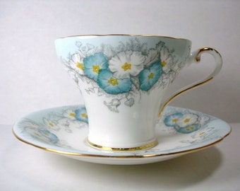Vintage Aynsley Teacup and Saucer - English Fine Bone China Tea Set - Aynsley Corset Turquoise Teacup Set