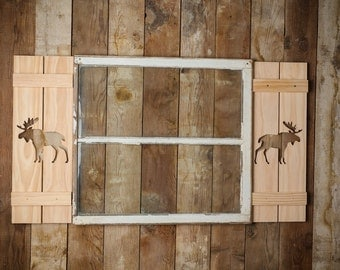 Exterior Moose Shutter made of Premium Pine perfect for your Cabin, cottage, or beach house great rustic northwoods decor