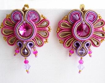 Soutache earrings and Swarovski rivoli Ooak