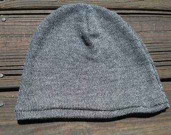 French terry slouch beanie, birdseye black, baby-toddler size