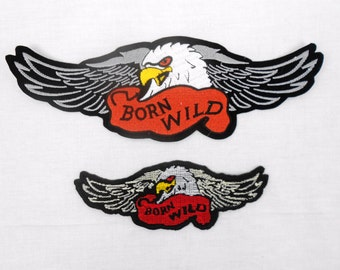 """EMBROIDERED PATCH APPLIQUE """"Born Wild"""" Eagle, Sew On or Hot Press (2 Sizes)"""