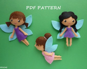 PDF pattern to make a felt small fairies.