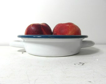 Cute white and blue enamelware dish, French vintage, French enamelware, French country decor, French kitchenware.