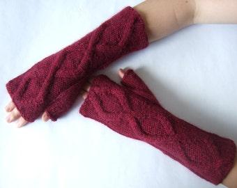 Knitted of  ANGORA, CASHMERE and Australian wool. Red / BURGUNDY ( marl ) fingerless gloves, wrist warmers, fingerless mittens. Handmade..