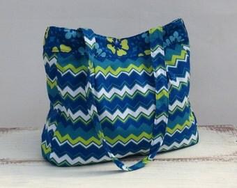Handmade Purse | Womens Handbag | Womens Tote | Large Purse | Womens Purse | Canvas Purse | Pleated Purse | Chevron Purse | Diaper Bag