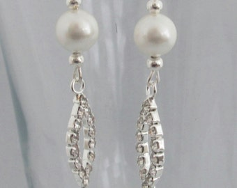 Bridal Swarovski Pearl Earrings, White, Dangle and Drop, Bridesmaid Gift, Birthday Gift, Gift for Her, Anniversary, Handmade UK