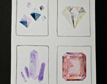 Gemstone Crystal Watercolor Painting