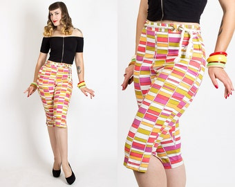 "Vintage 60s RARE Geometric STRIPED Mod CAPRI Pants | 1960s Retro Bright Cotton Nautical High Waisted Clam Diggers (s/m 28"" waist)"