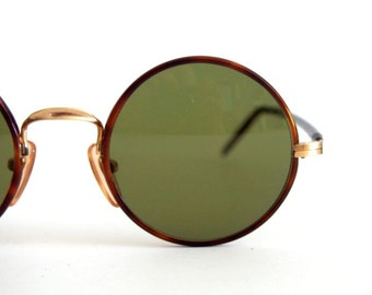 Vintage Sunglasses OPO mod. 1075 Gold filed 14 KT Hippie Round sunglasses Original 80s Made in Italy, NOS