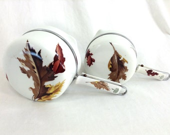 Set of Two Limoges French Porcelain Ceramic Stovetop Pots with Leaf Motif