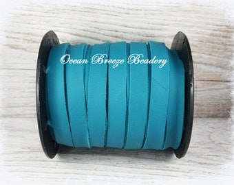 10mm Flat Leather Lace . Turquoise . Super Soft Deertan Lace . 3 feet or 6 feet ~Choose your length