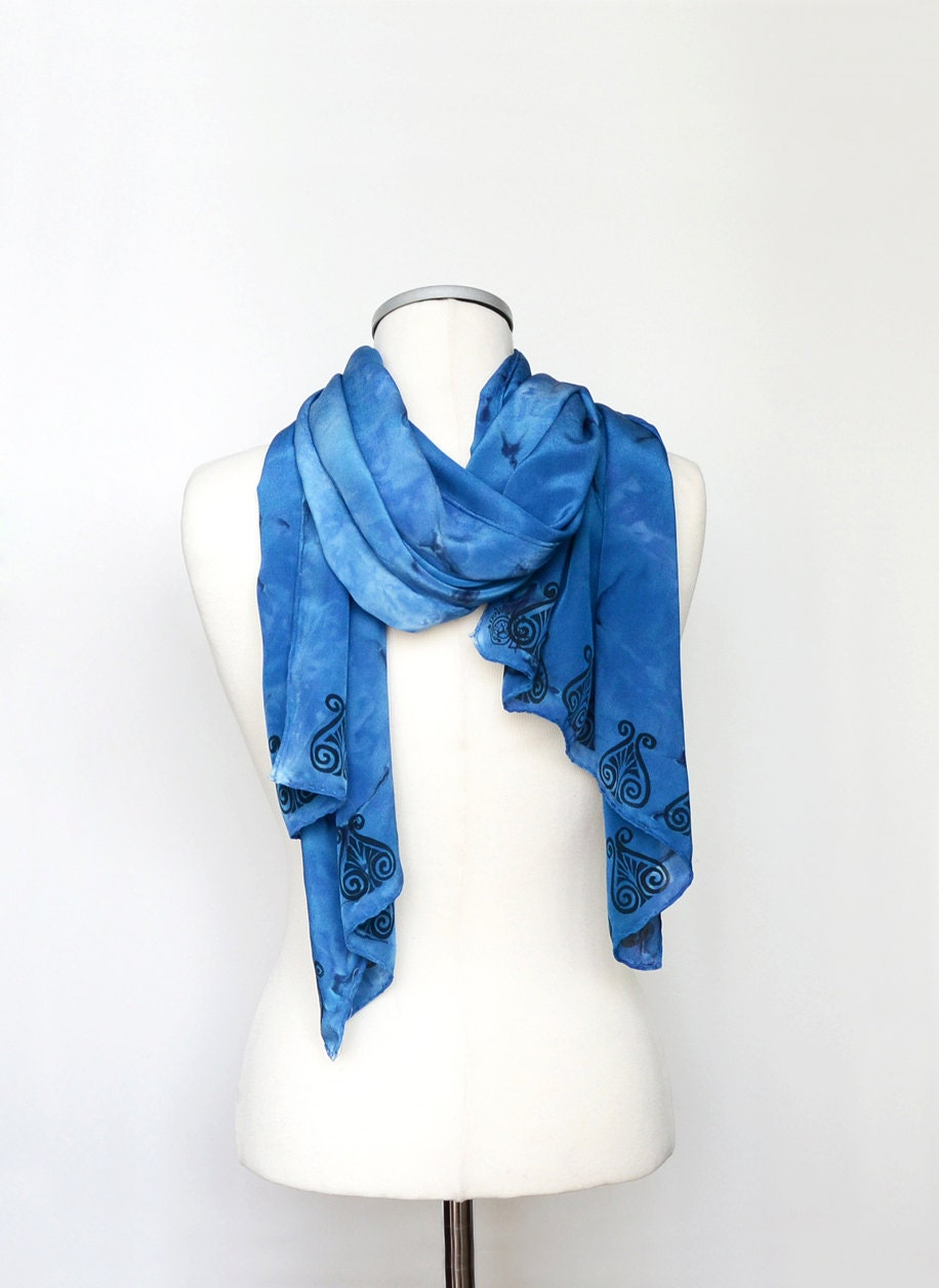 Scarfs Men Scarf And Casual On Pinterest Nice Scarves: Mens Silk Scarf Blue Scarf For Men Blue Men Scarf Mens