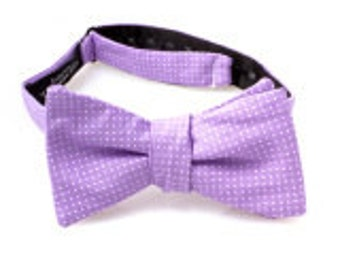 Lavender and White Polka Dot Self Tie Bow Tie