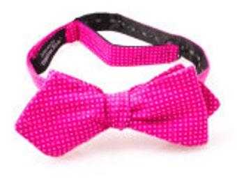Pink and White Polka Dot Self Tie Diamond Point Bow Tie
