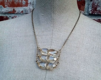 Ice Cold Sixer- Distressed Faceted Crystal Nugget Statement Necklace