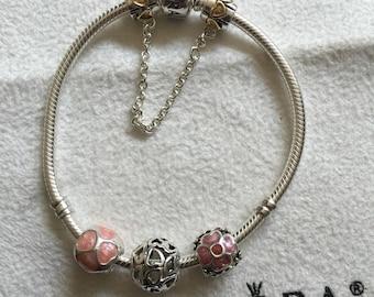 Authentic Pandora Bracelet mixed metals charms